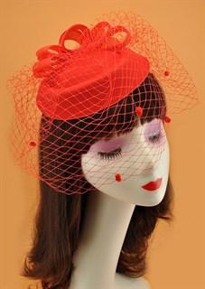 Шляпка с вуалью Жанна. Красная
