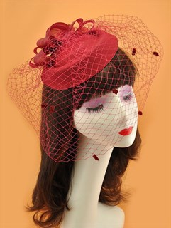 Шляпка с вуалью Жанна. Бордо