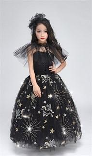 Черное пышное платье в пол из фатина со звездами - фото 17969