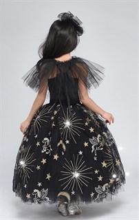 Черное пышное платье в пол из фатина со звездами - фото 17971