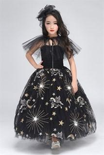 Черное пышное платье в пол из фатина со звездами - фото 17973