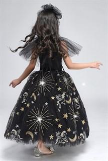 Черное пышное платье в пол из фатина со звездами - фото 17974