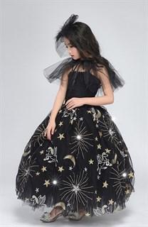 Черное пышное платье в пол из фатина со звездами - фото 17975