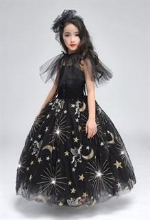 Черное пышное платье в пол из фатина со звездами - фото 17976