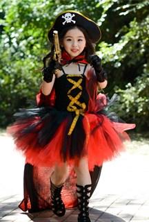 Черное пышное платье маленькой пиратки со шляпой - фото 17985