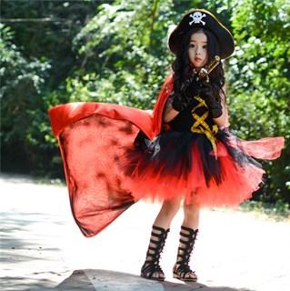 Черное пышное платье маленькой пиратки со шляпой - фото 17987