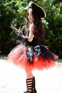 Черное пышное платье маленькой пиратки со шляпой - фото 17990
