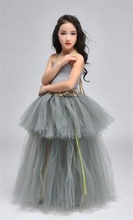 Серое пышное платье в пол из фатина - фото 18013