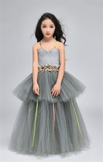 Серое пышное платье в пол из фатина - фото 18017