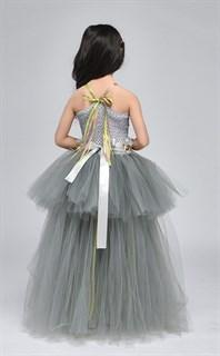 Серое пышное платье в пол из фатина - фото 18018