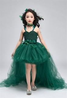 Темно-зеленое пышное платье из фатина со шлейфом - фото 18028