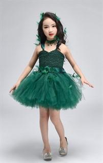 Темно-зеленое пышное платье из фатина со шлейфом - фото 18029