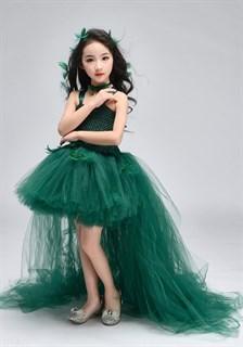 Темно-зеленое пышное платье из фатина со шлейфом - фото 18030