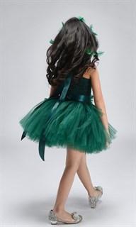 Темно-зеленое пышное платье из фатина со шлейфом - фото 18031