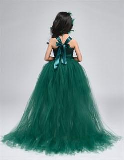 Темно-зеленое пышное платье из фатина со шлейфом - фото 18033