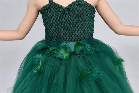 Темно-зеленое пышное платье из фатина со шлейфом - фото 18035