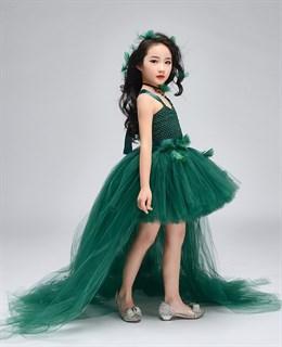 Темно-зеленое пышное платье из фатина со шлейфом - фото 18036
