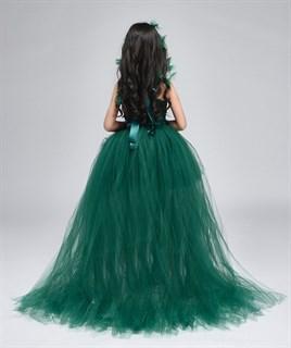 Темно-зеленое пышное платье из фатина со шлейфом - фото 18037