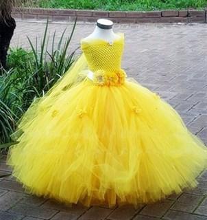 Желтое пышное платье в пол Бэль из красавицы и чудовища