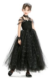Черное пышное платье в пол с блестками