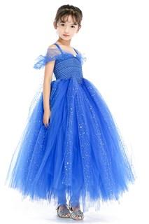 Синее пышное платье в пол с блестками