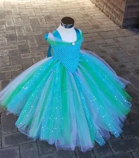Голубое пышное платье в пол с блестками костюм Золушки