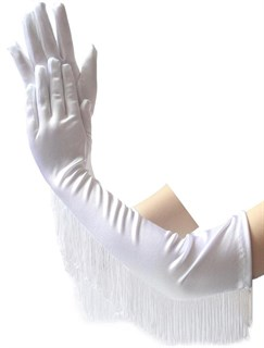 Длинные атласные перчатки с бахромой. Белые