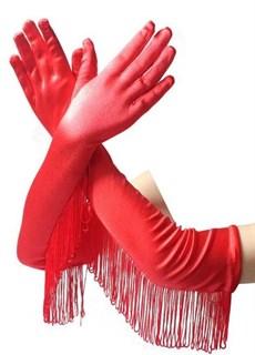 Длинные атласные перчатки с бахромой. Красные