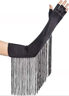 Длинные атласные перчатки без пальцев с бахромой. Черные