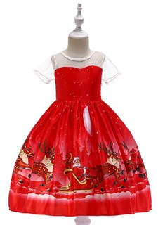 Новогоднее красное платье с принтом и прозрачными рукавами
