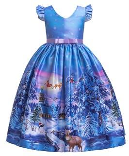 Новогоднее голубое платье с красивым принтом