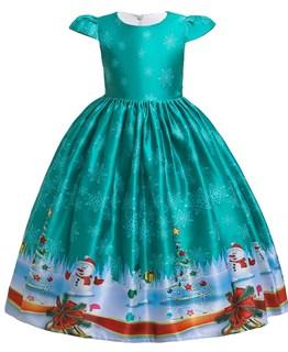 Новогоднее платье с красивым принтом цвета морской волны