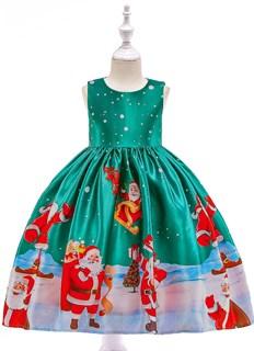 Новогоднее платье с Сантами цвета морской волны