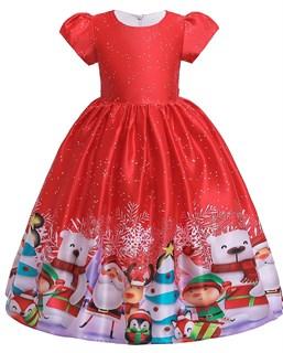 Новогоднее красное платье с ярким принтом с медведями