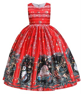 Новогоднее красное платье с ярким винтажным принтом