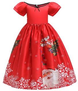 Новогоднее красное платье с ярким принтом Елка
