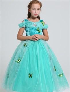 Пышное мятное длинное платье Золушки с бабочками