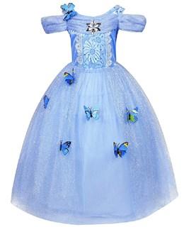 Пышное голубое длинное платье Золушки с бабочками