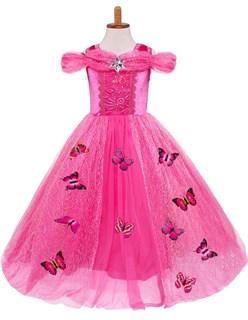 Пышное розовое длинное платье Золушки с бабочками