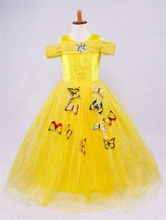 Пышное желтое длинное платье Бэль с бабочками