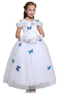 Пышное Белое длинное платье принцессы с бабочками