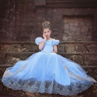 Голубое длинное платье принцессы
