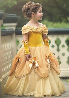 Платье красавицы Бэль для девочки жёлтое