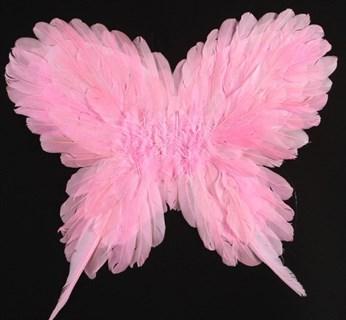 Крылья детские из перьев 40*50см. Розовые