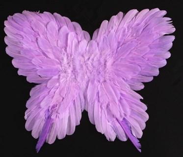 Крылья детские из перьев 40*50см. Сиреневые