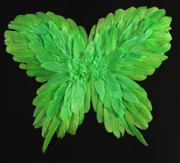Крылья детские из перьев 40*50см. Зеленые