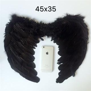 Крылья детские из перьев 45*35. Черные