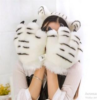 Большие лапы белого тигра