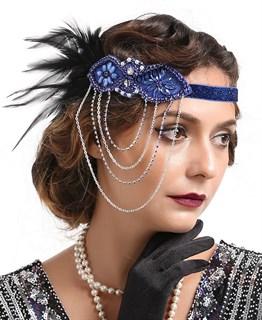 Повязка на голову с синими перьями и цепочками
