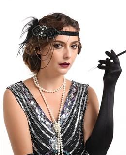Повязка на голову с черными перьями и цепочками